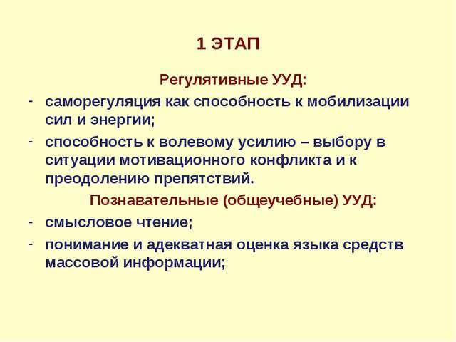 1 ЭТАП Регулятивные УУД: саморегуляция как способность к мобилизации сил и эн...