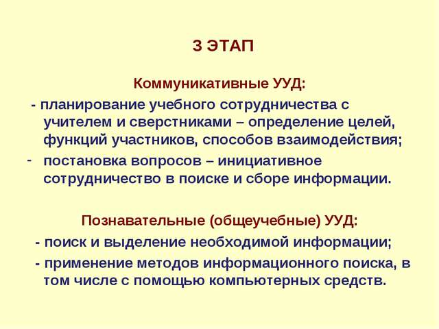 3 ЭТАП Коммуникативные УУД: - планирование учебного сотрудничества с учителе...