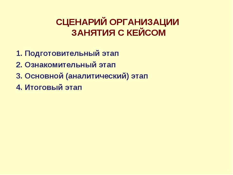 СЦЕНАРИЙ ОРГАНИЗАЦИИ ЗАНЯТИЯ С КЕЙСОМ 1. Подготовительный этап 2. Ознакомител...