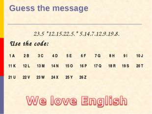 Guess the message 23.5 *12.15.22.5.* 5.14.7.12.9.19.8. Use the code: 1 A 	2 B