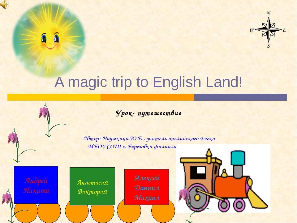 A magic trip to English Land! Урок- путешествие Автор: Наумкина Ю.Е., учител...
