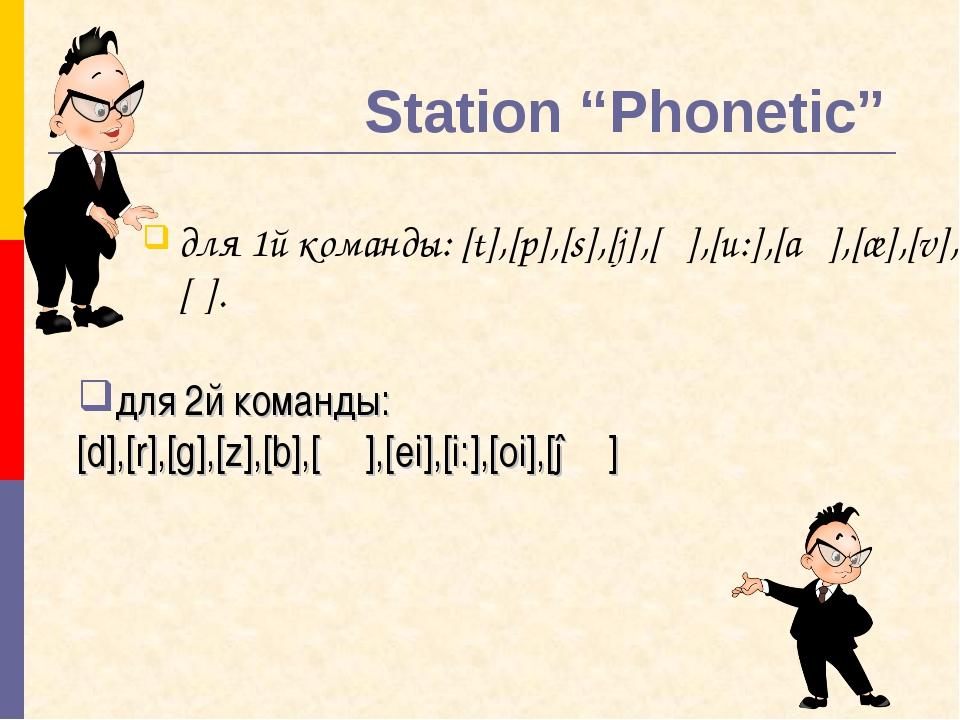 "Station ""Phonetic"" для 1й команды: [t],[p],[s],[j],[ʊ],[u:],[aʊ],[æ],[v],[ʃ]...."