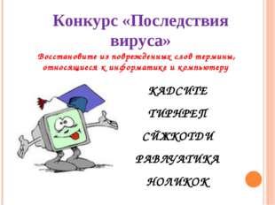 Конкурс «Последствия вируса» Восстановите из поврежденных слов термины, относ