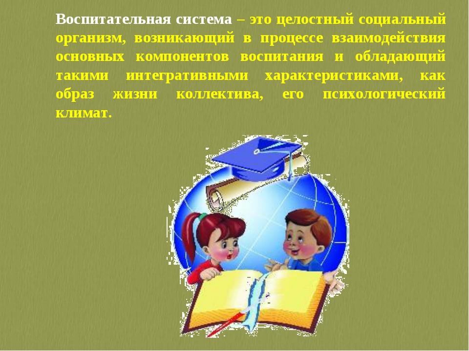 Воспитательная система – это целостный социальный организм, возникающий в про...