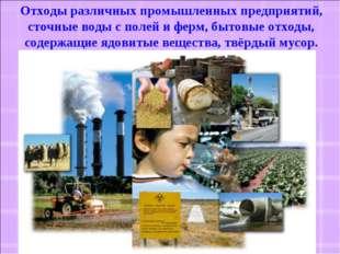 Отходы различных промышленных предприятий, сточные воды с полей и ферм, бытов