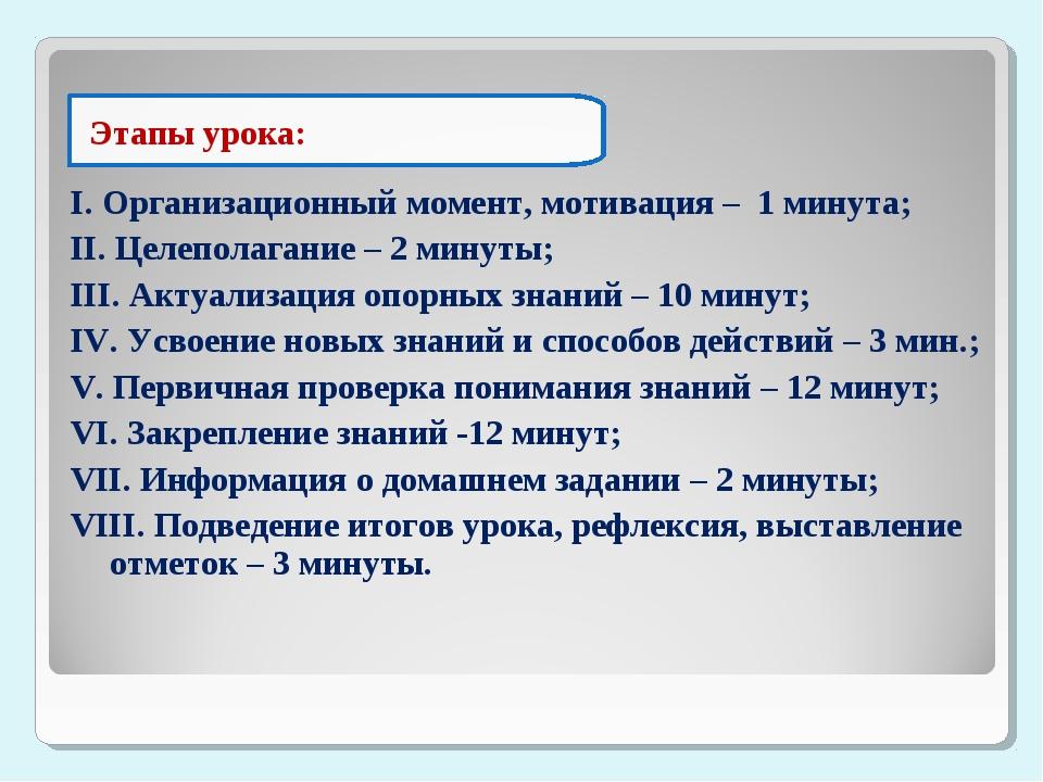 I. Организационный момент, мотивация – 1 минута; II. Целеполагание – 2 минуты...