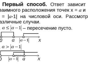 Первый способ. Ответ зависит от взаимного расположения точек x = a и x = |a-