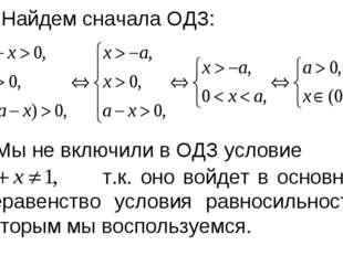 Найдем сначала ОДЗ: Мы не включили в ОДЗ условие т.к. оно войдет в основное
