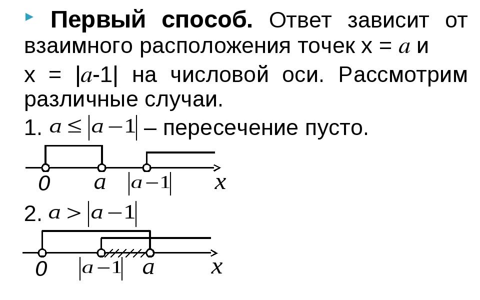 Первый способ. Ответ зависит от взаимного расположения точек x = a и x = |a-...