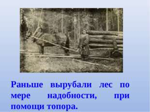 Раньше вырубали лес по мере надобности, при помощи топора.