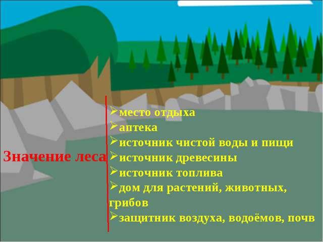 Значение леса место отдыха аптека источник чистой воды и пищи источник древес...