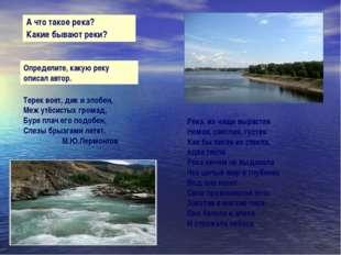 А что такое река? Какие бывают реки? Терек воет, дик и злобен, Меж утёсистых