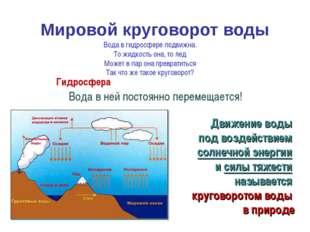 Мировой круговорот воды Гидросфера – это подвижная оболочка Земли. Вода в ней