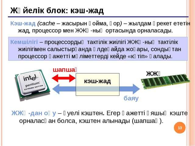* Жүйелік блок: кэш-жад Кэш-жад (cache – жасырын қойма, қор) – жылдам әрекет...