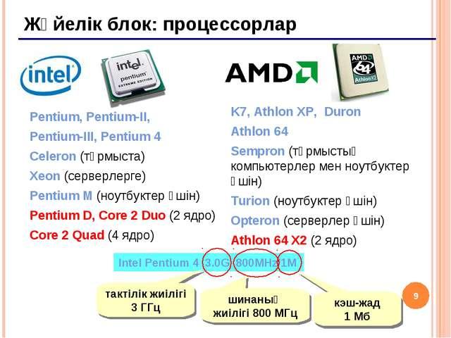 * Жүйелік блок: процессорлар Pentium, Pentium-II, Pentium-III, Pentium 4 Cele...