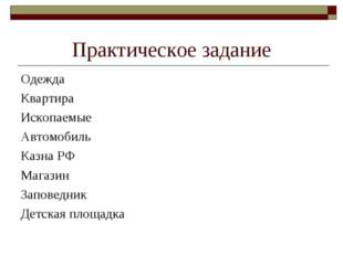 Практическое задание Одежда Квартира Ископаемые Автомобиль Казна РФ Магазин З