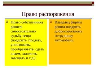 Право распоряжения Право собственника решить самостоятельно судьбу вещи (пода