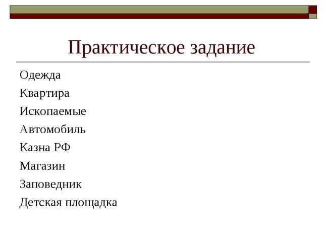 Практическое задание Одежда Квартира Ископаемые Автомобиль Казна РФ Магазин З...