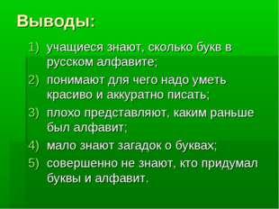 Выводы: учащиеся знают, сколько букв в русском алфавите; понимают для чего на