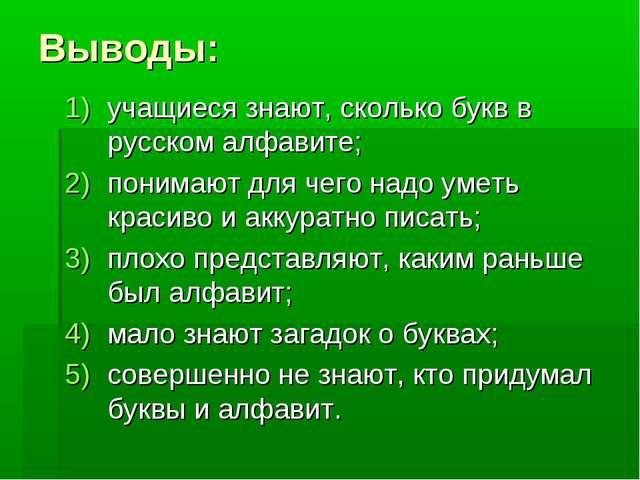 Выводы: учащиеся знают, сколько букв в русском алфавите; понимают для чего на...