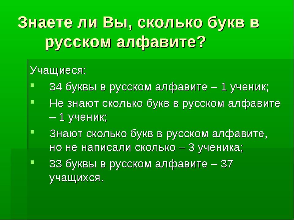 Знаете ли Вы, сколько букв в русском алфавите? Учащиеся: 34 буквы в русском а...