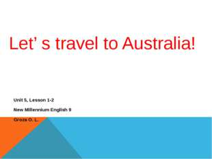 Let' s travel to Australia!