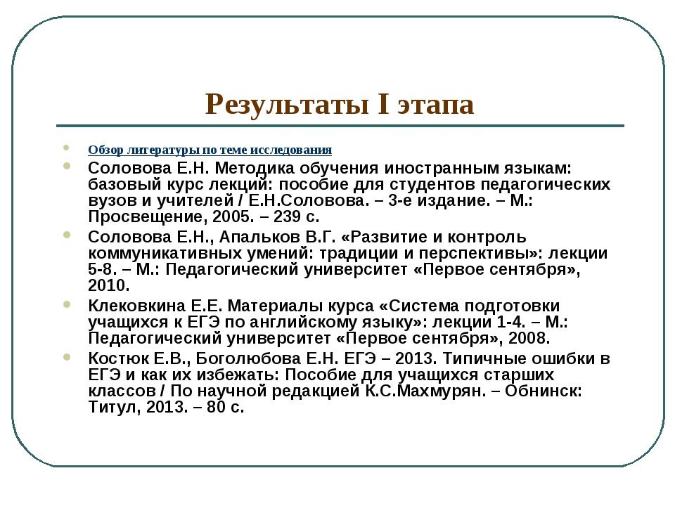 Результаты I этапа Обзор литературы по теме исследования Соловова Е.Н. Методи...