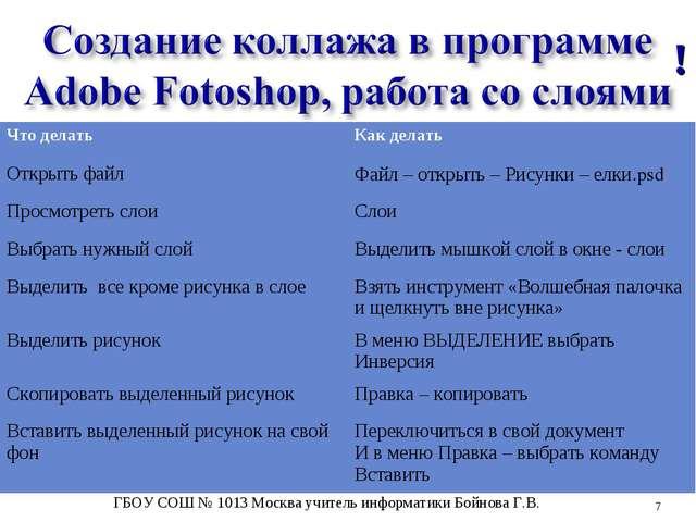 ! * ГБОУ СОШ № 1013 Москва учитель информатики Бойнова Г.В. Что делатьКак де...