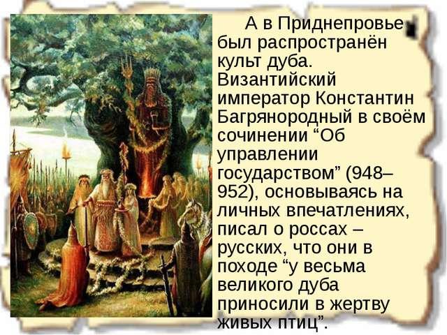 А в Приднепровье был распространён культ дуба. Византийский император Конст...