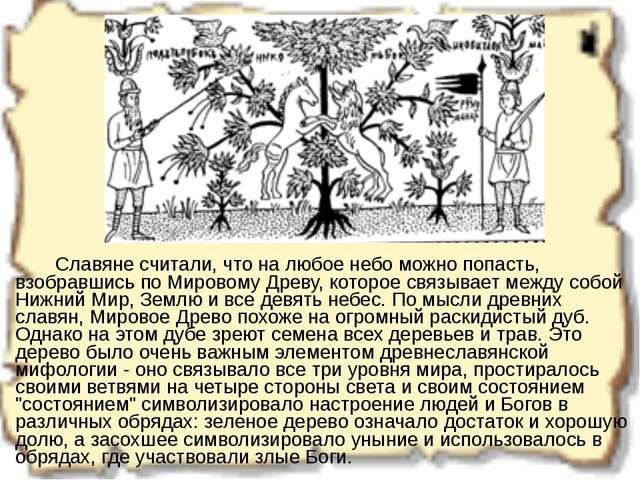 Славяне считали, что на любое небо можно попасть, взобравшись по Мировому Д...