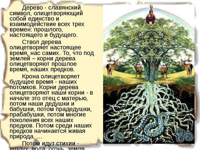 Дерево - славянский символ, олицетворяющий собой единство и взаимодействие...