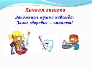 Личная гигиена Запомнить нужно навсегда: Залог здоровья – чистота!