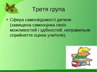Третя група Сфера самосвідомості дитини (завищена самооцінка своїх можливосте