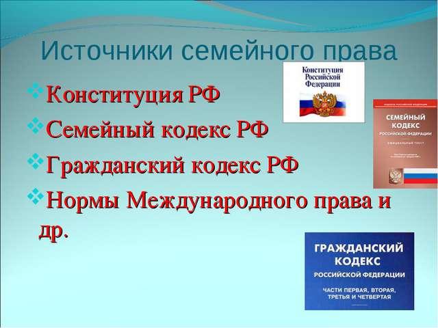Источники семейного права Конституция РФ Семейный кодекс РФ Гражданский кодек...