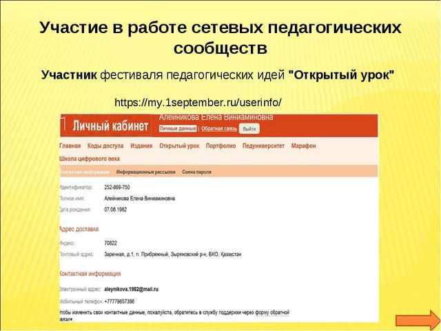 Участие в работе сетевых педагогических сообществ Участник фестиваля педагоги...