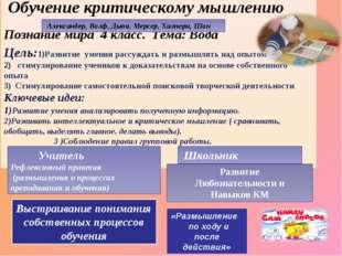 Обучение критическому мышлению Познание мира 4 класс. Тема: Вода Цель:1)Разв