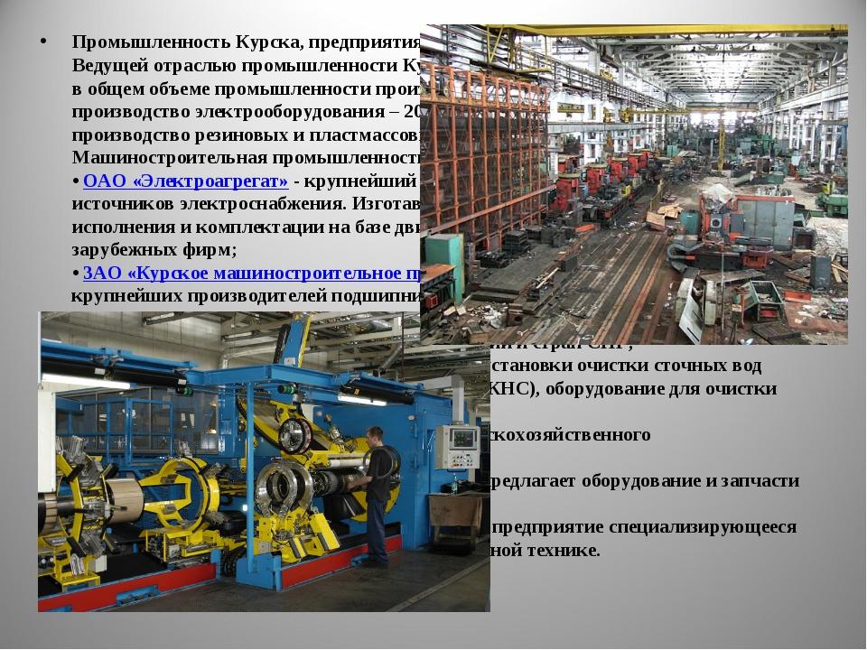 Промышленность Курска, предприятия и заводы Курска Ведущей отраслью промышлен...