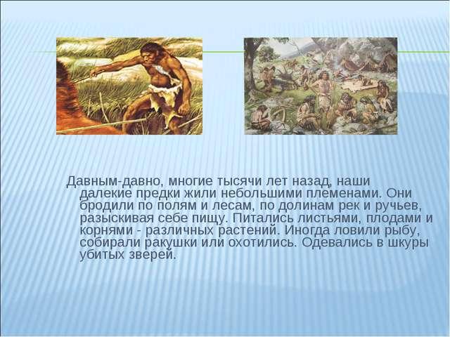 Давным-давно, многие тысячи лет назад, наши далекие предки жили небольшими п...