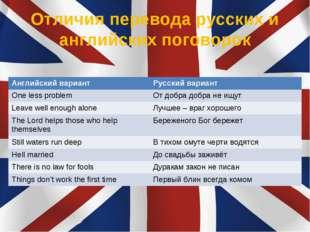 Отличия перевода русских и английских поговорок Английский вариантРусский ва