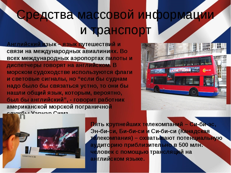 Средства массовой информации и транспорт Английский язык – язык путешествий и...