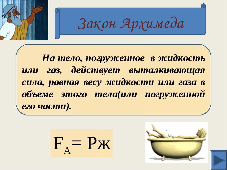 Закон Архимеда FА= Pж