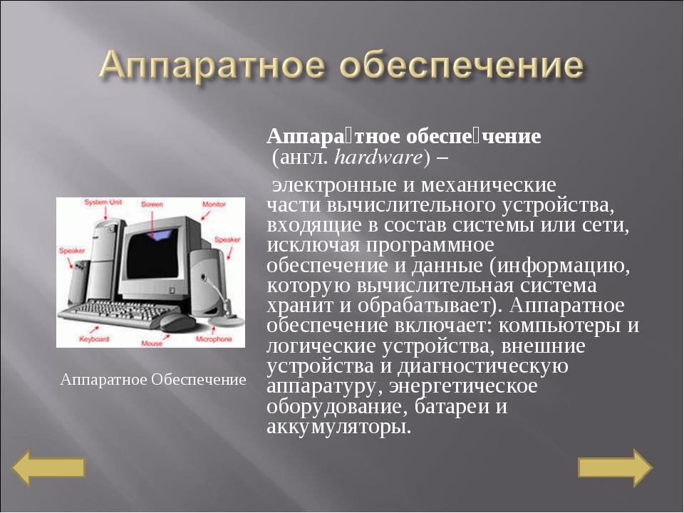 Аппара́тное обеспе́чение (англ.hardware) – электронныеи механические част...