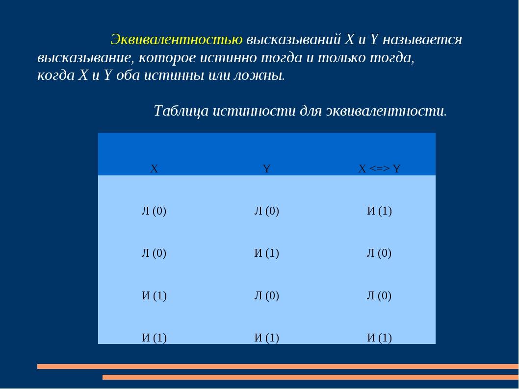 Эквивалентностью высказываний Х и Y называется высказывание, которое истинн...