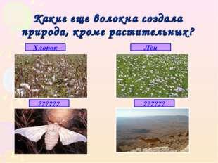 Какие еще волокна создала природа, кроме растительных? Хлопок Лён ?????? ??????