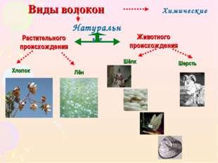 Виды волокон Натуральные Химические Шерсть Растительного происхождения Животн