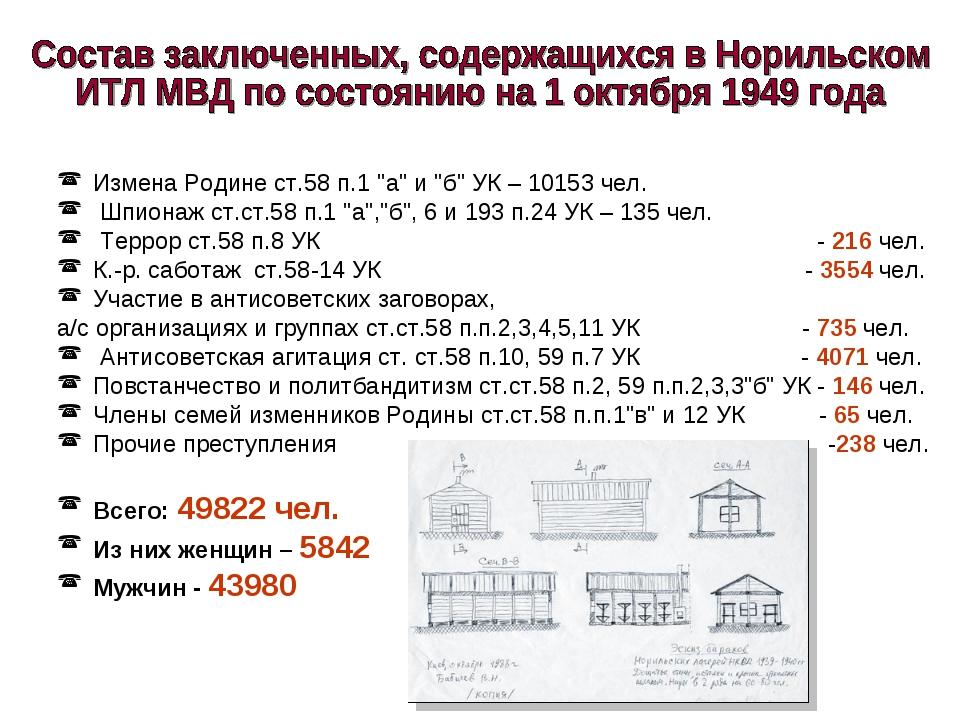 """Измена Родине ст.58 п.1 """"а"""" и """"б"""" УК – 10153 чел. Шпионаж ст.ст.58 п.1 """"а"""",""""б..."""