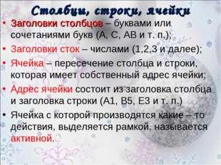 Столбцы, строки, ячейки Заголовки столбцов – буквами или сочетаниями букв (А,