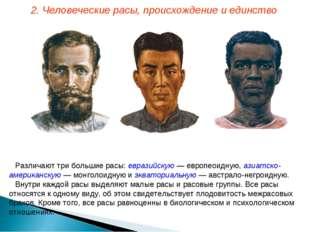 Различают три большие расы: евразийскую — европеоидную, азиатско-американскую
