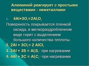 4Al+3O2 = 2Al2O3 Поверхность покрывается пленкой оксида, в мелкораздробленном