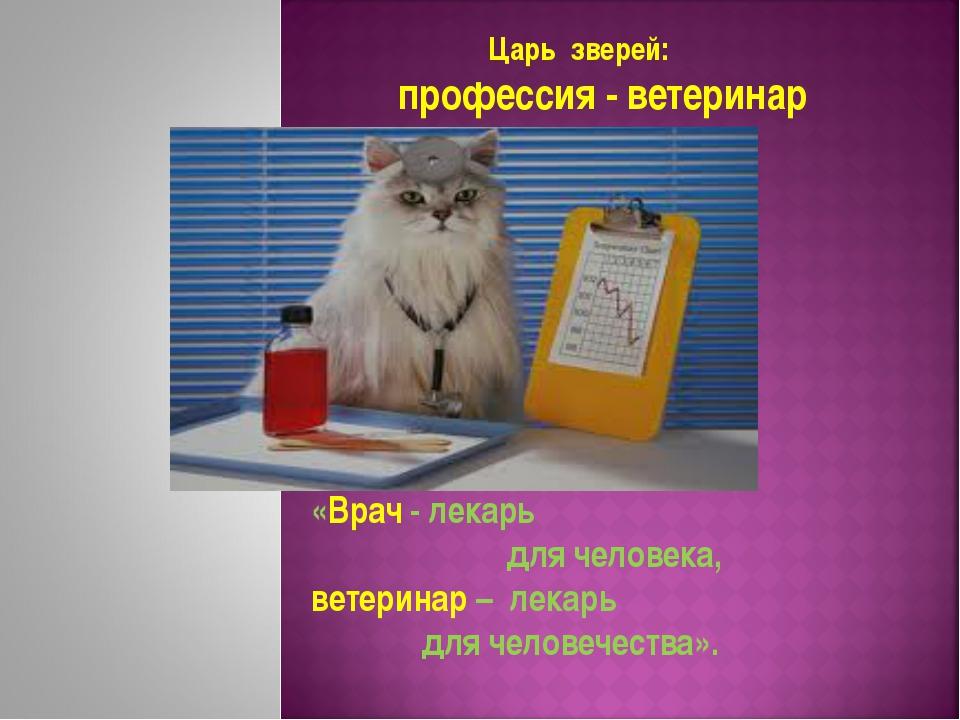 «Врач - лекарь для человека, ветеринар – лекарь для человечества». Царь звере...